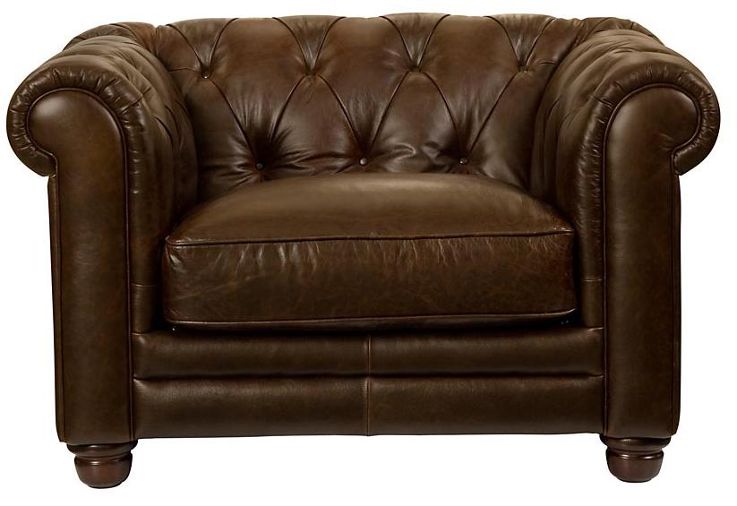 Beau Chesterfield Upholstered Chair W/ Rolled Arms By Bassett