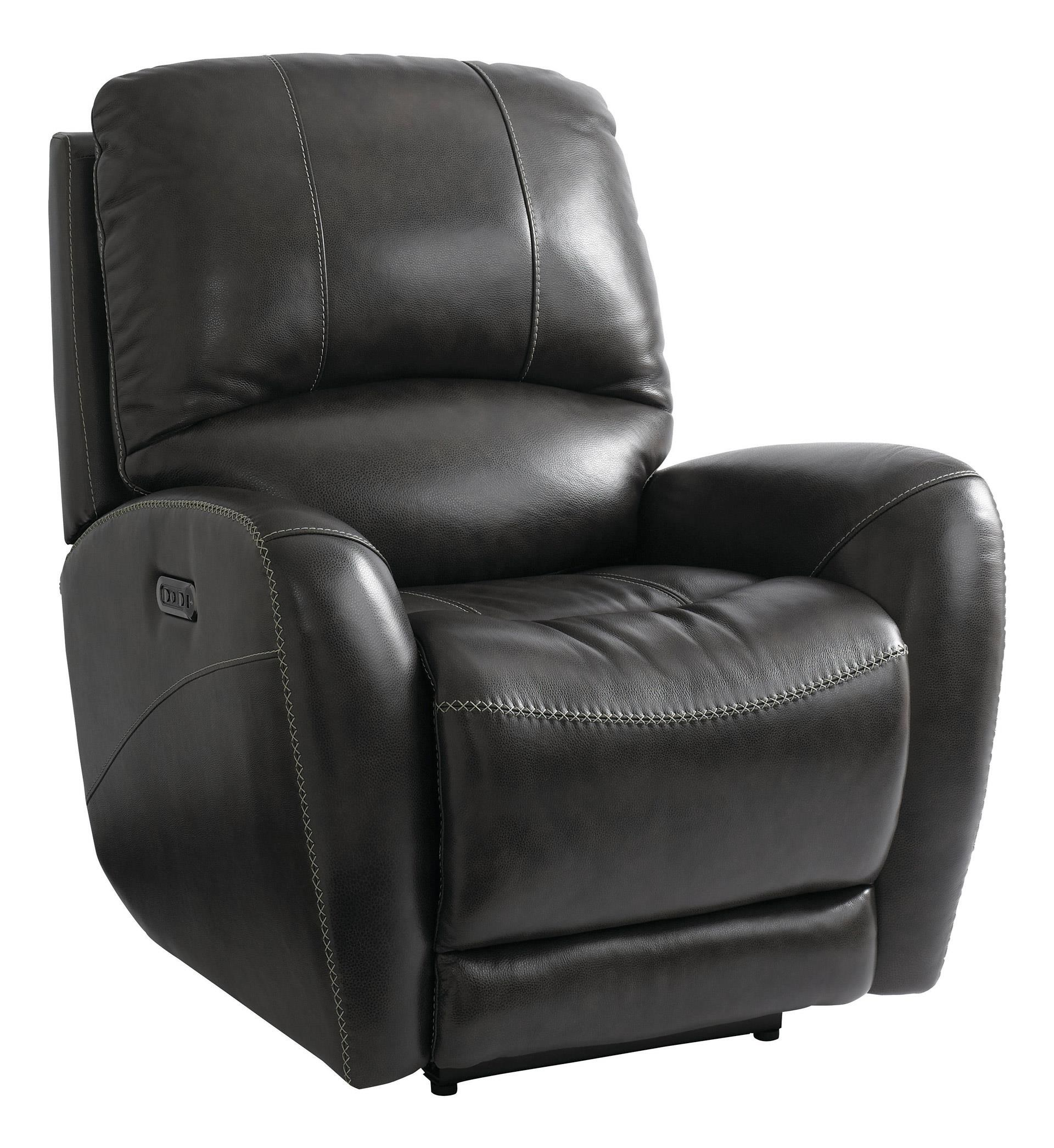 Bassett Club Level Recliner Wilson Power Leather Recliner W/ Head and F - Item Number: 3507-P0WD