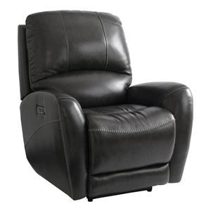 Bassett Club Level Recliner Wilson Power Leather Recliner W/ Head and F