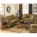 Bassett Club Room Stationary Sofa with Nail Head Trim - Shown with Love Seat and Chair