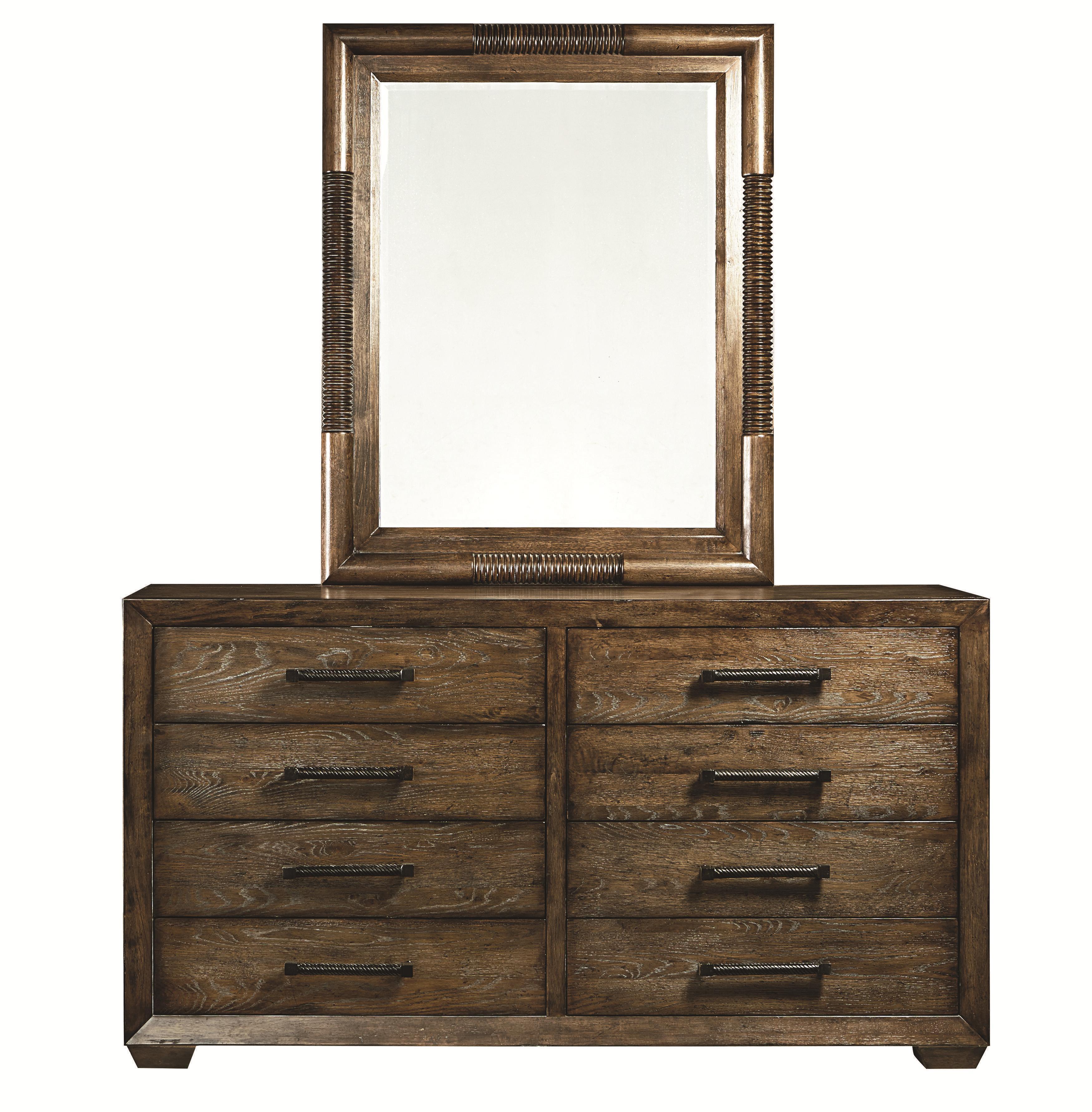 Bassett Compass Dresser and Mirror Combo - Item Number: 2525-0237+0242