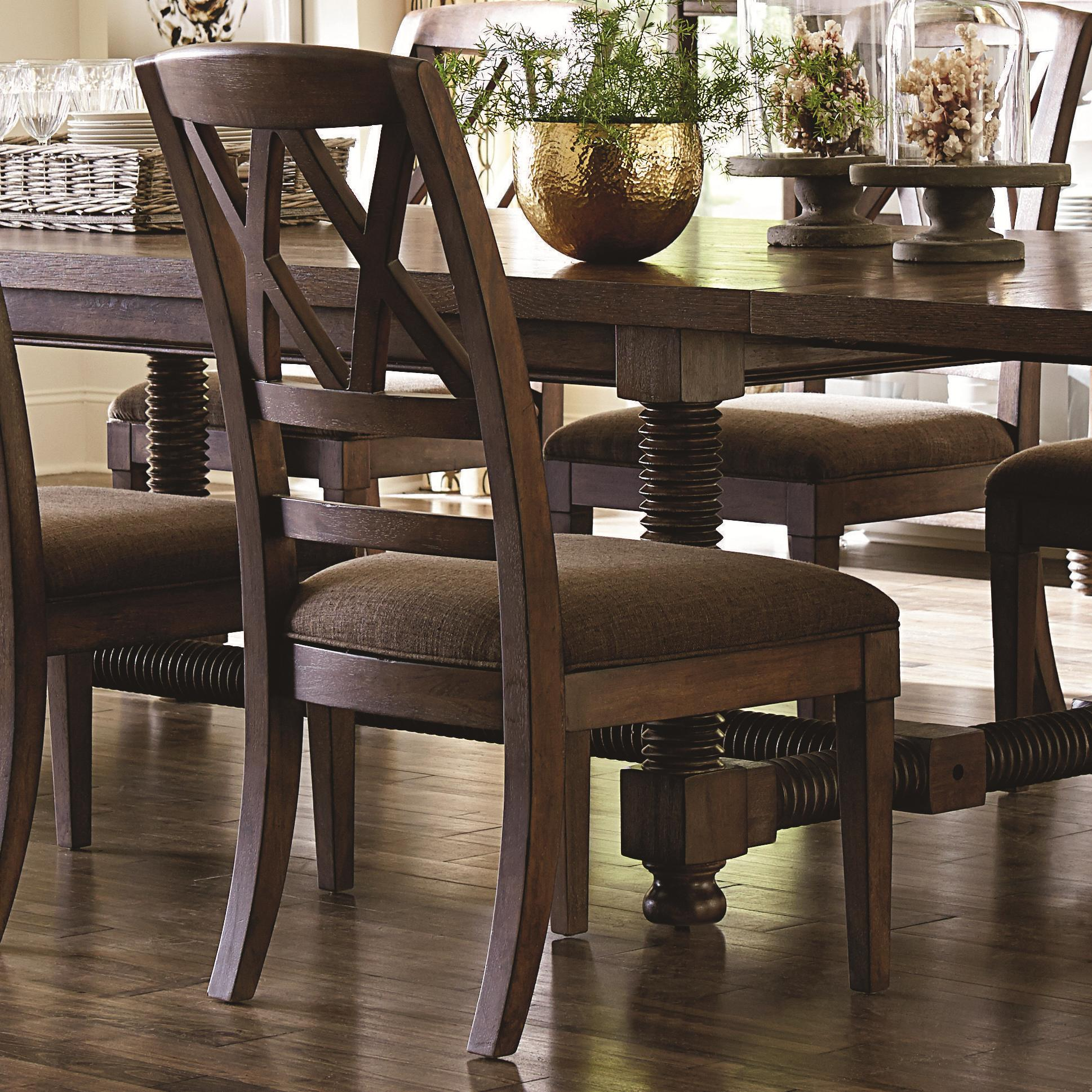Bassett pass Dining Side Chair with X Back and Upholstered Seat