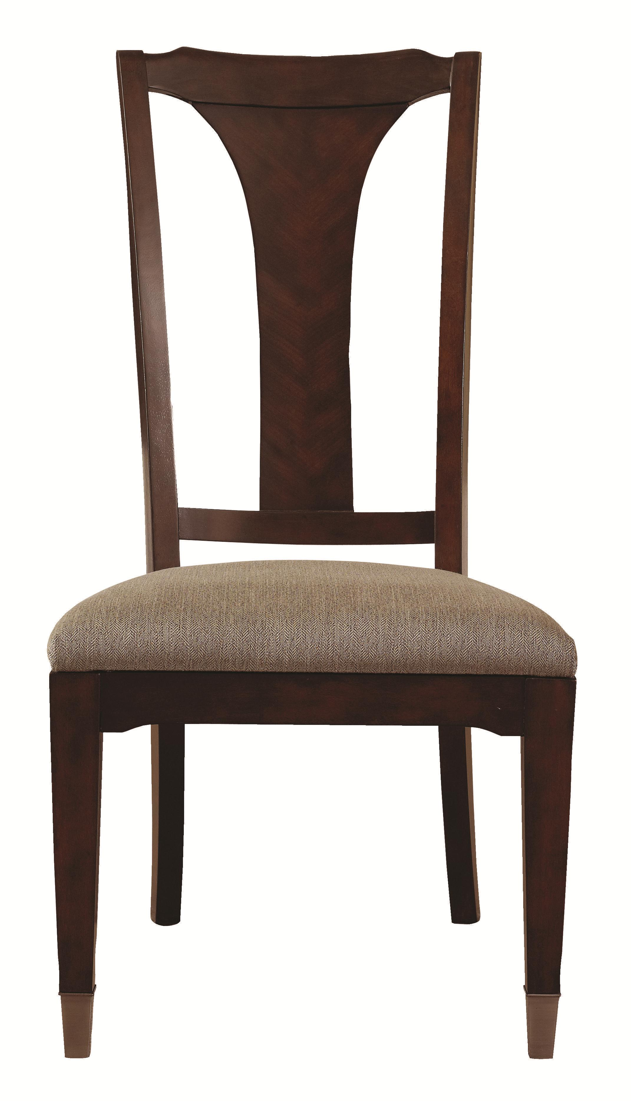 Cosmopolitan Transitional Dining Side Chair With Urn Back And Upholstered  Seat By Bassett
