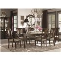 Bassett Cosmopolitan Transitional Nine Piece Dining Set with Rectangular Tables - Shown with China Cabinet