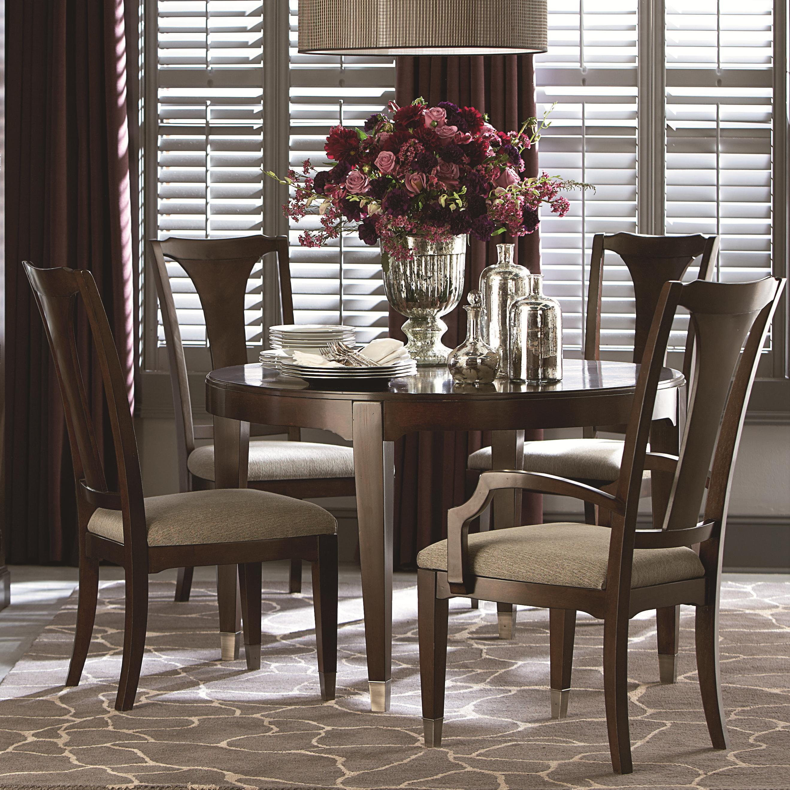 Cosmopolitan Transitional Five Piece Dining Set With Round Table By Bassett