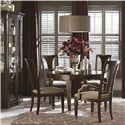 Bassett Cosmopolitan Transitional Round Dining Table with Tapered Block Legs and Nickel Ferrules - Shown with Armchair, Side Chair and China Cabinet
