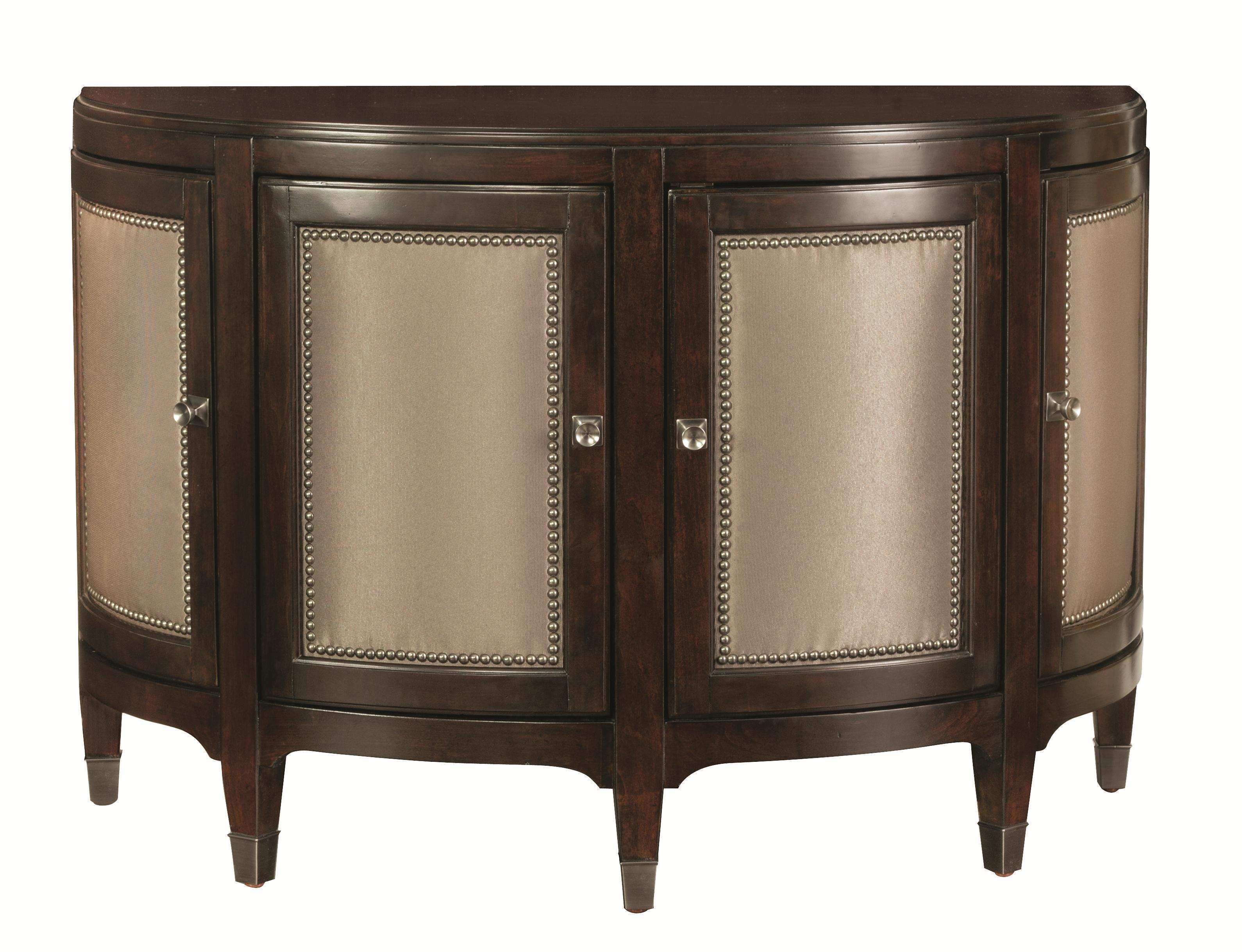 Bassett Cosmopolitan Transitional Demilune Chest With Nailhead Trim And  Fabric Inlay   AHFA   Occasional Cabinet Dealer Locator