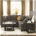 Bassett CU.2 L Shaped Upholstered Sectional Group - Shown in Room Setting with Coordinating Accent Tables