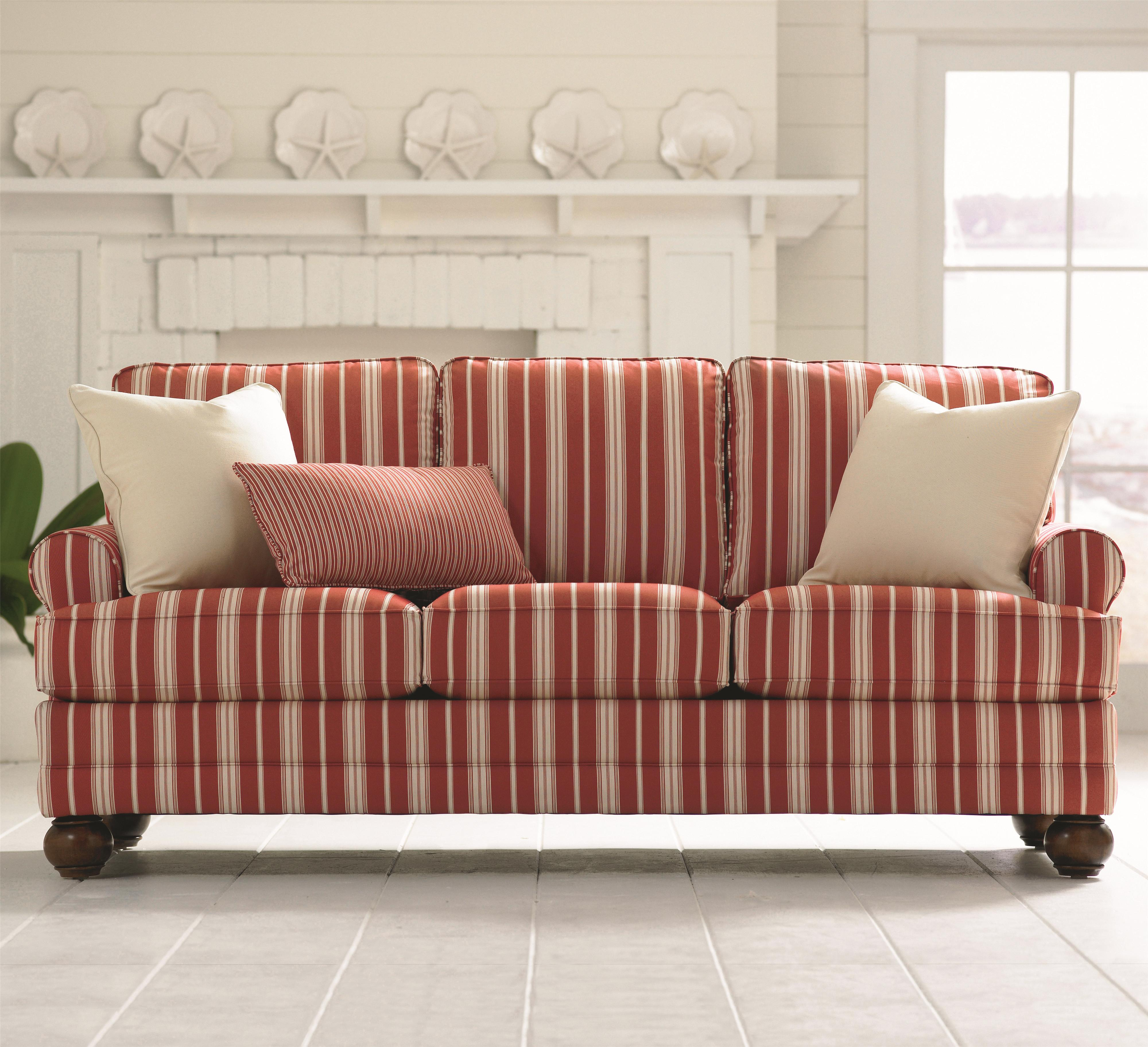 Bassett Custom Upholstery - Loft Customizable Stationary Sofa with Sock Arms and Bun Feet ...