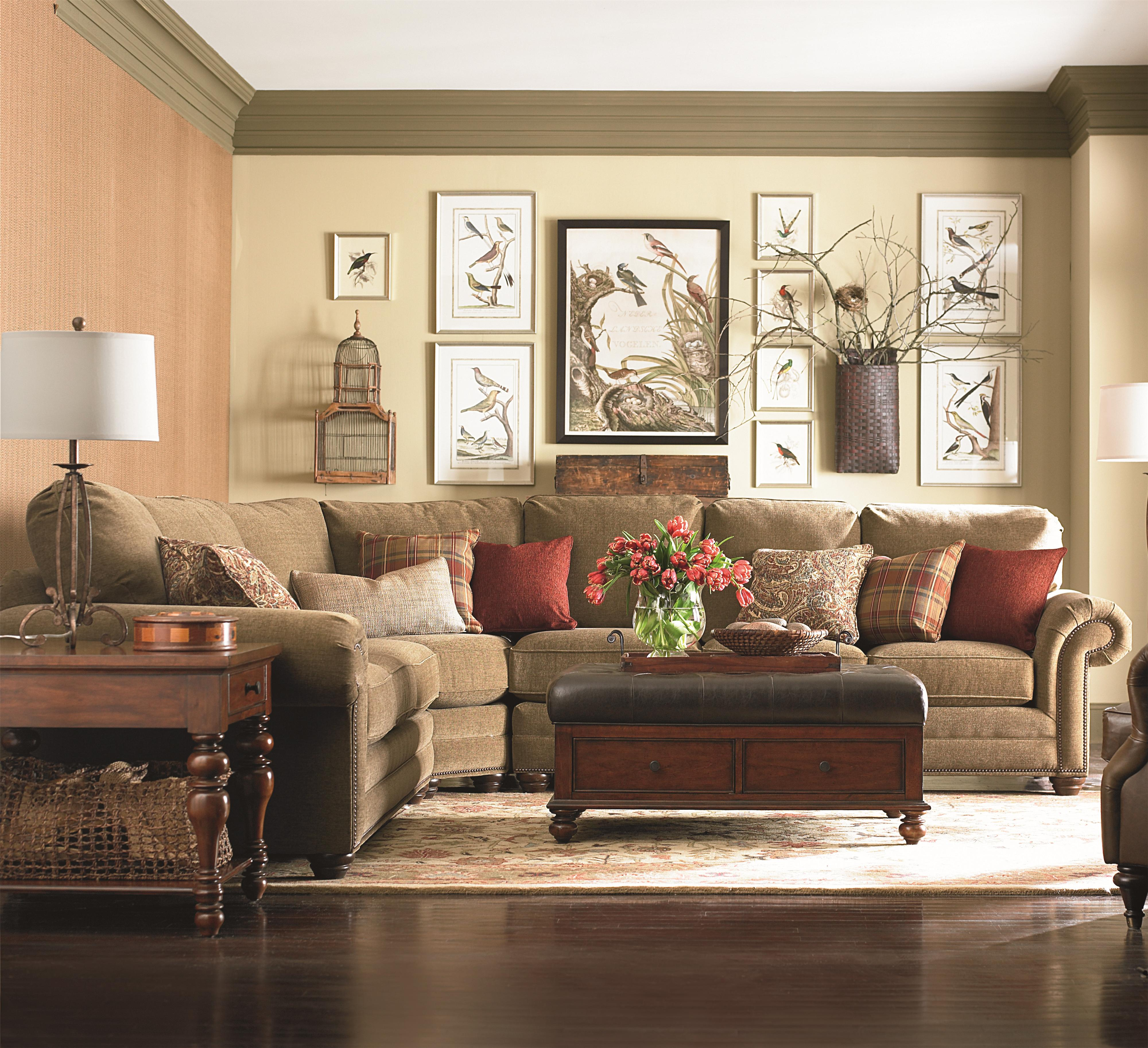 Bassett Custom Upholstery   Manor U003cbu003eCustomizableu003c/bu003e 3 Pc. Sectional With  Nailhead Trim, Panel Arms And Turned Feet   AHFA   Sofa Sectional Dealer  Locator