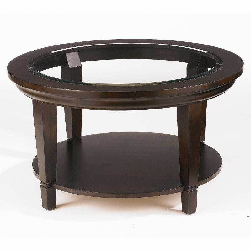 Bassett Easton Glass Top Round Cocktail Table With Shelf Dunk Bright Furniture Cocktail