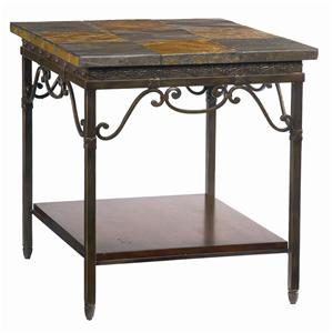 Elway Home Rectangular End Table With Slate Stone Top By Bassett