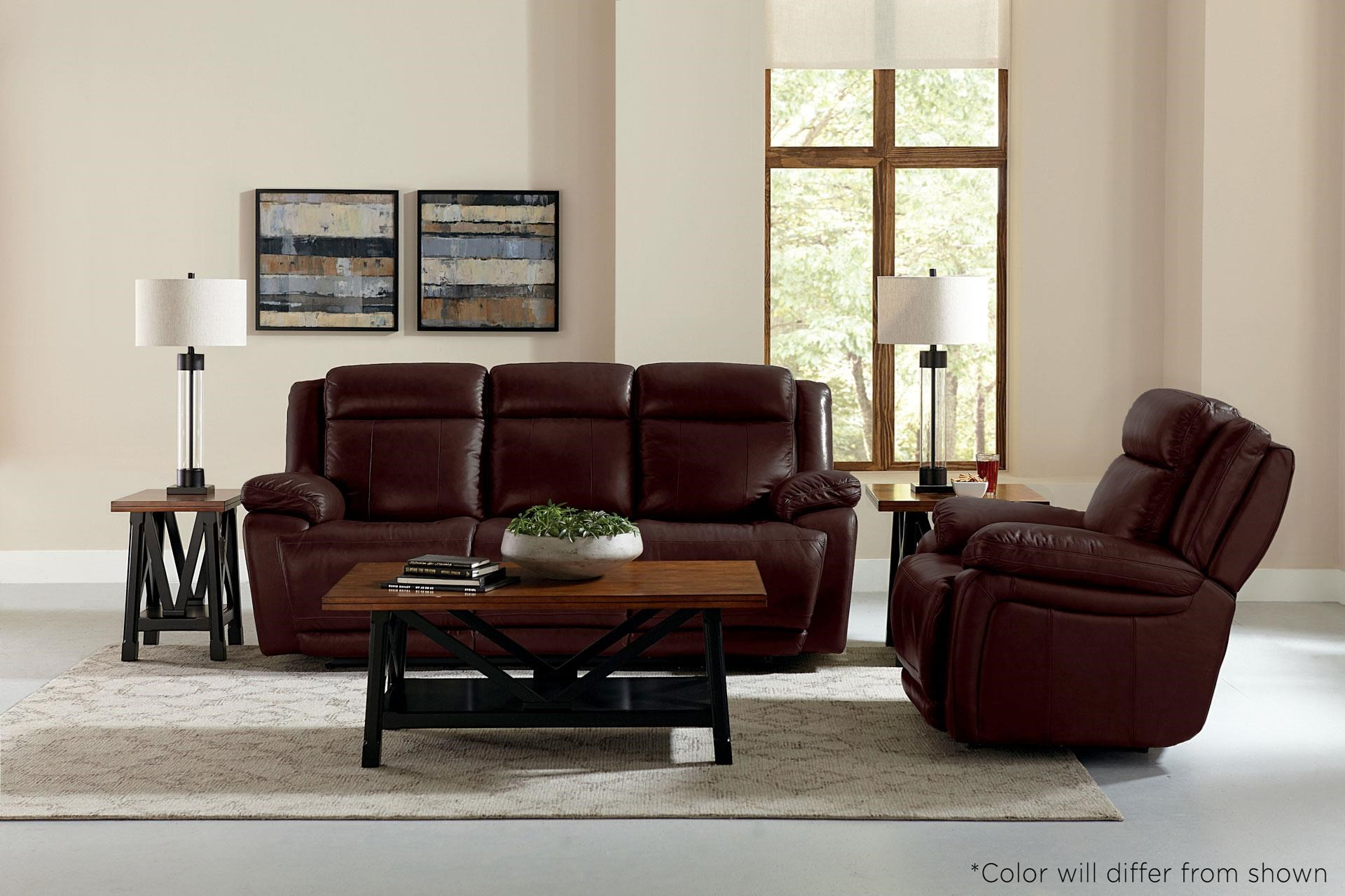Brown Leather Reclining Console Loveseat wit