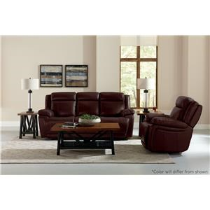 Bassett Evo Brown Leather Reclining Console Loveseat wit