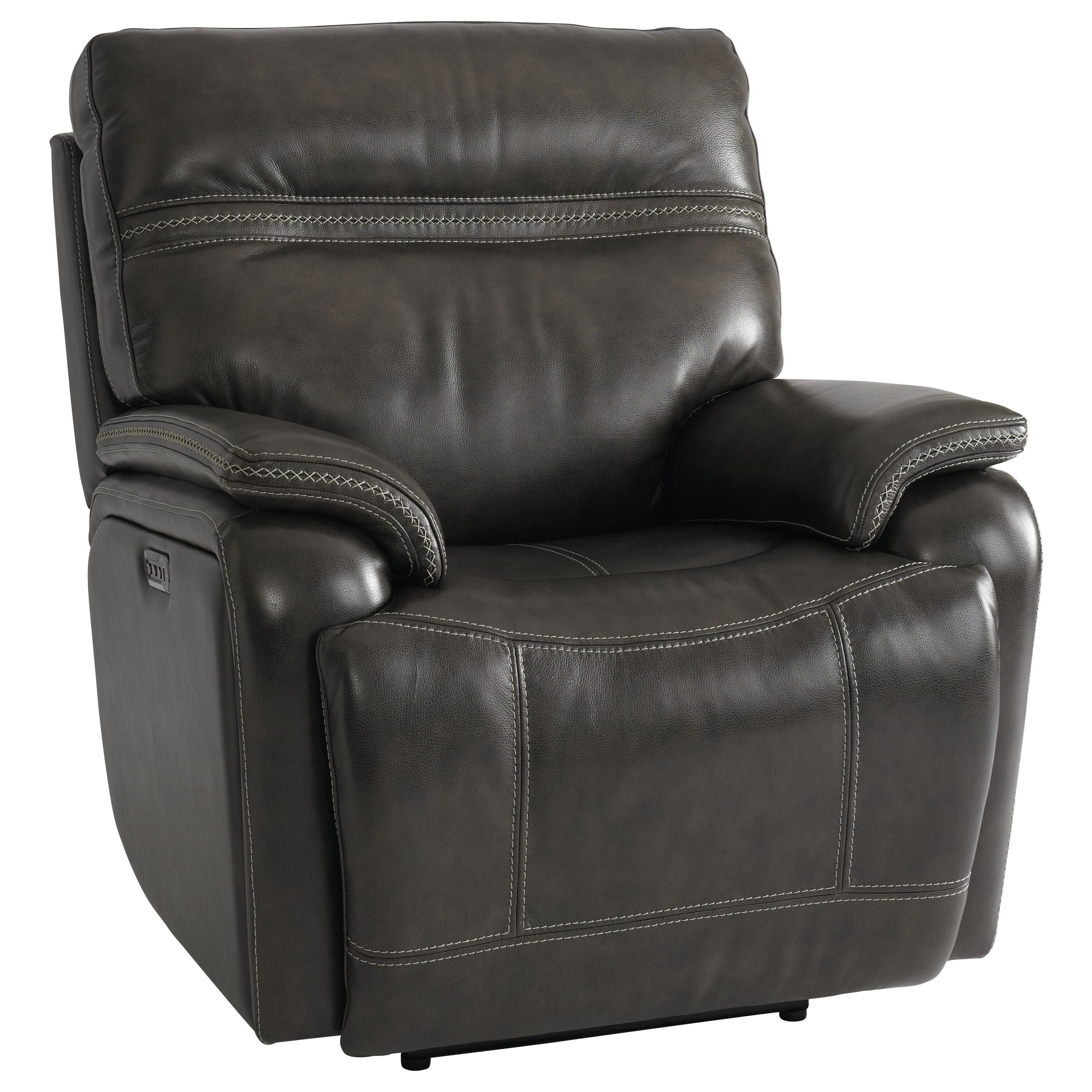 Picture of: Bassett Club Level Grant Casual Power Wallsaver Recliner With Power Headrest Lumbar And Usb Port Wilcox Furniture Recliners
