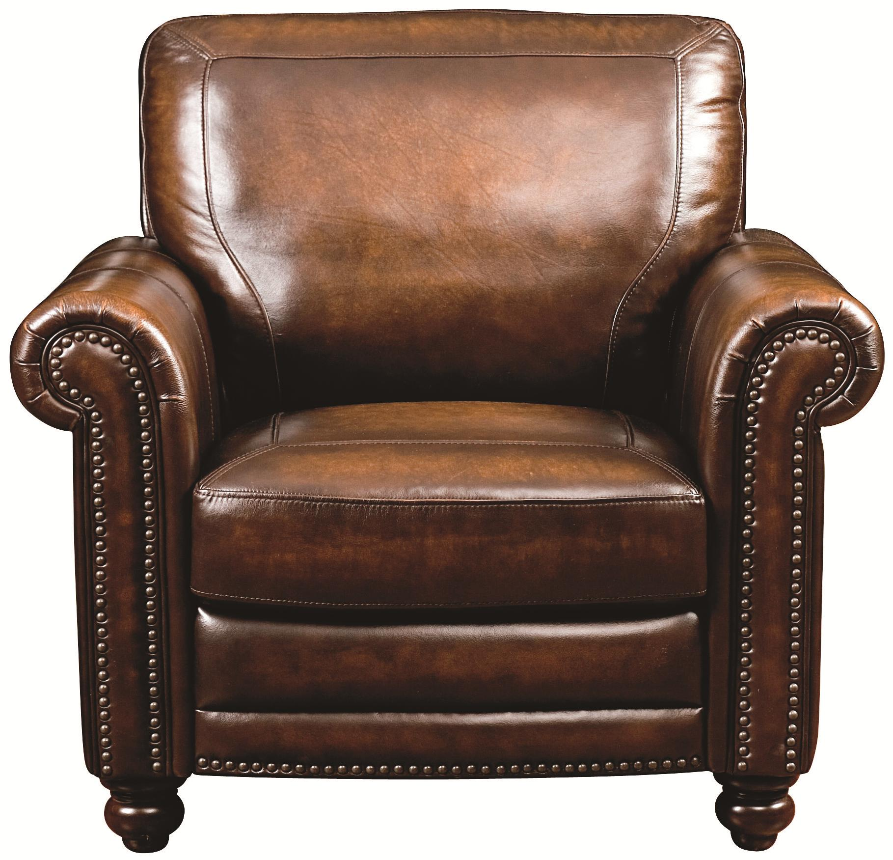 Traditional Leather Chair With Nail Head Trim Hamilton By Bett Wil Furniture Upholstered Chairs