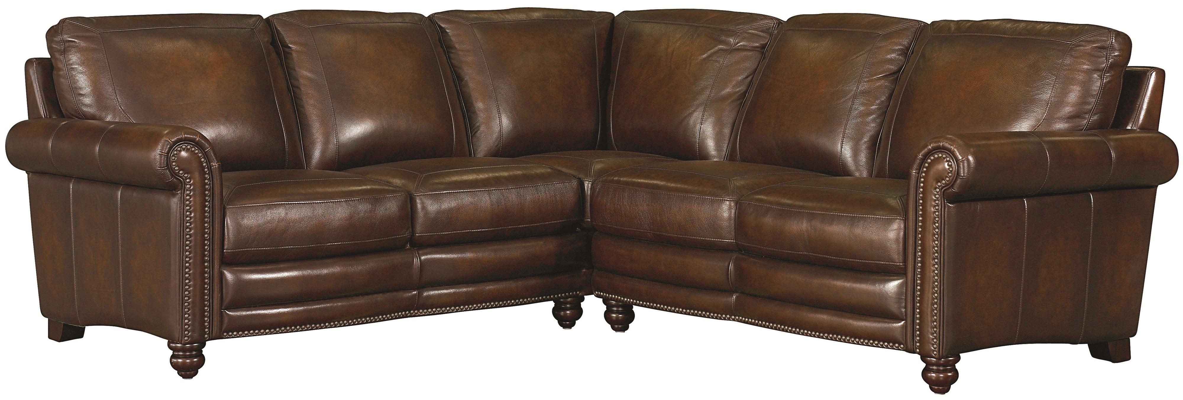 Hamilton Traditional L-Shaped Leather Sectional with Nail Head Trim by Bassett : leather sectional with nailhead trim - Sectionals, Sofas & Couches