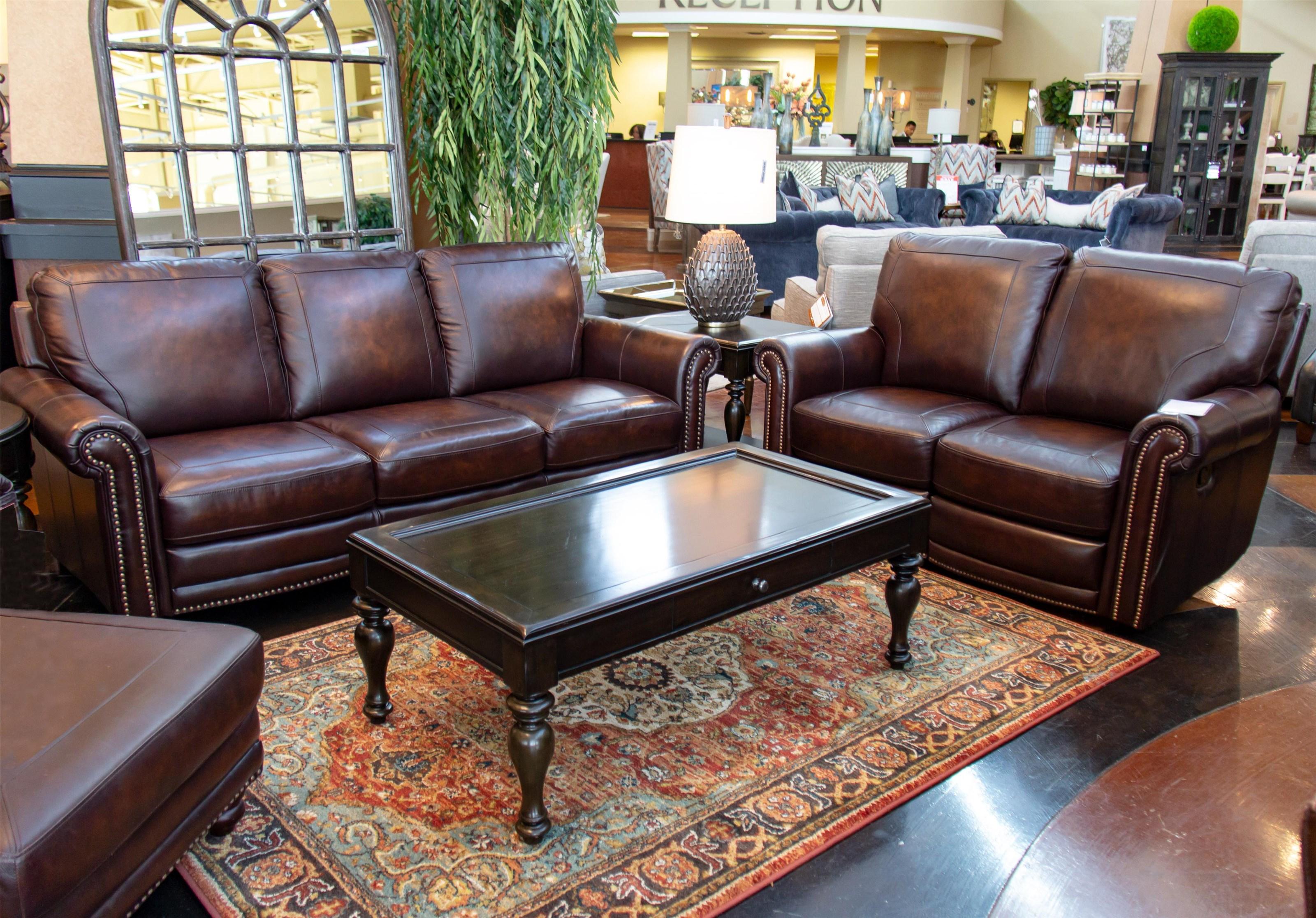 Bassett Hamilton Leather Sofa And Loveseat   Item Number: GRP 3959 SL