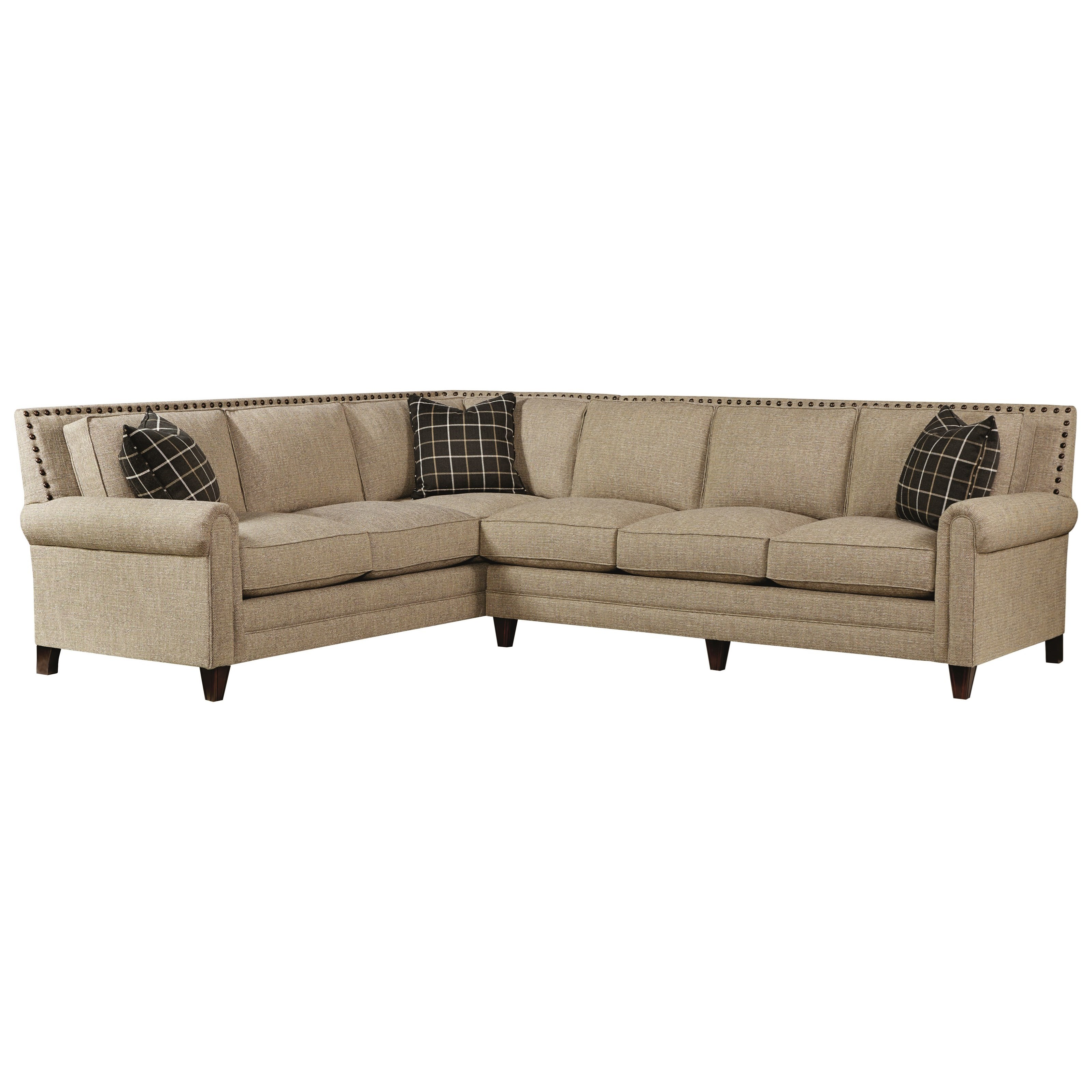 Bassett Harlan Sectional Sofa with 5 Seats - Item Number 2618-66FC+61FC  sc 1 st  Dunk u0026 Bright Furniture : bassett sectional - Sectionals, Sofas & Couches