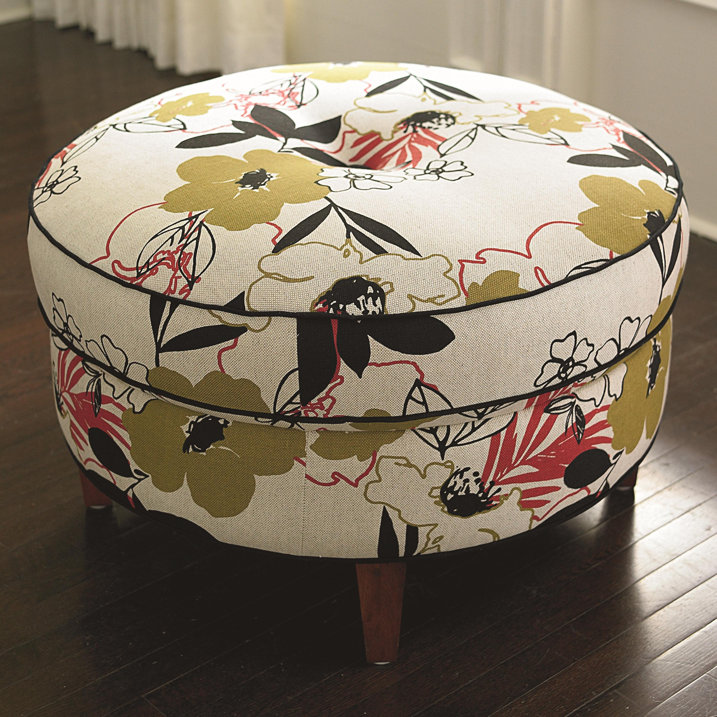 HGTV HOME Design Studio Casual Round Ottoman With Center Tuft By Bassett