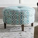 """Bassett HGTV HOME Design Studio Custom Ottomans 32"""" Round Ottoman - Item Number: 1000-RO-Blue Key-12MED-1TUFT-6TAPD"""