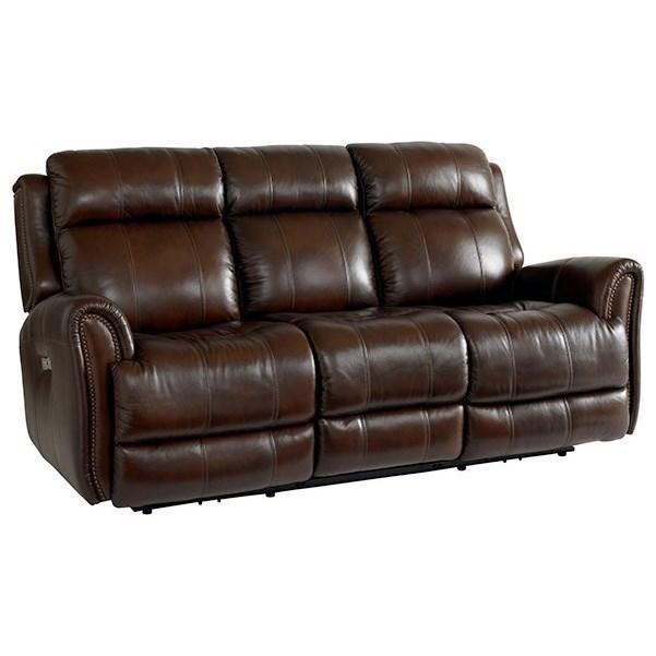 Hamilton Reclining Sectional Sofa By Bassett: Club Level 3707-P62C Leather Match Power