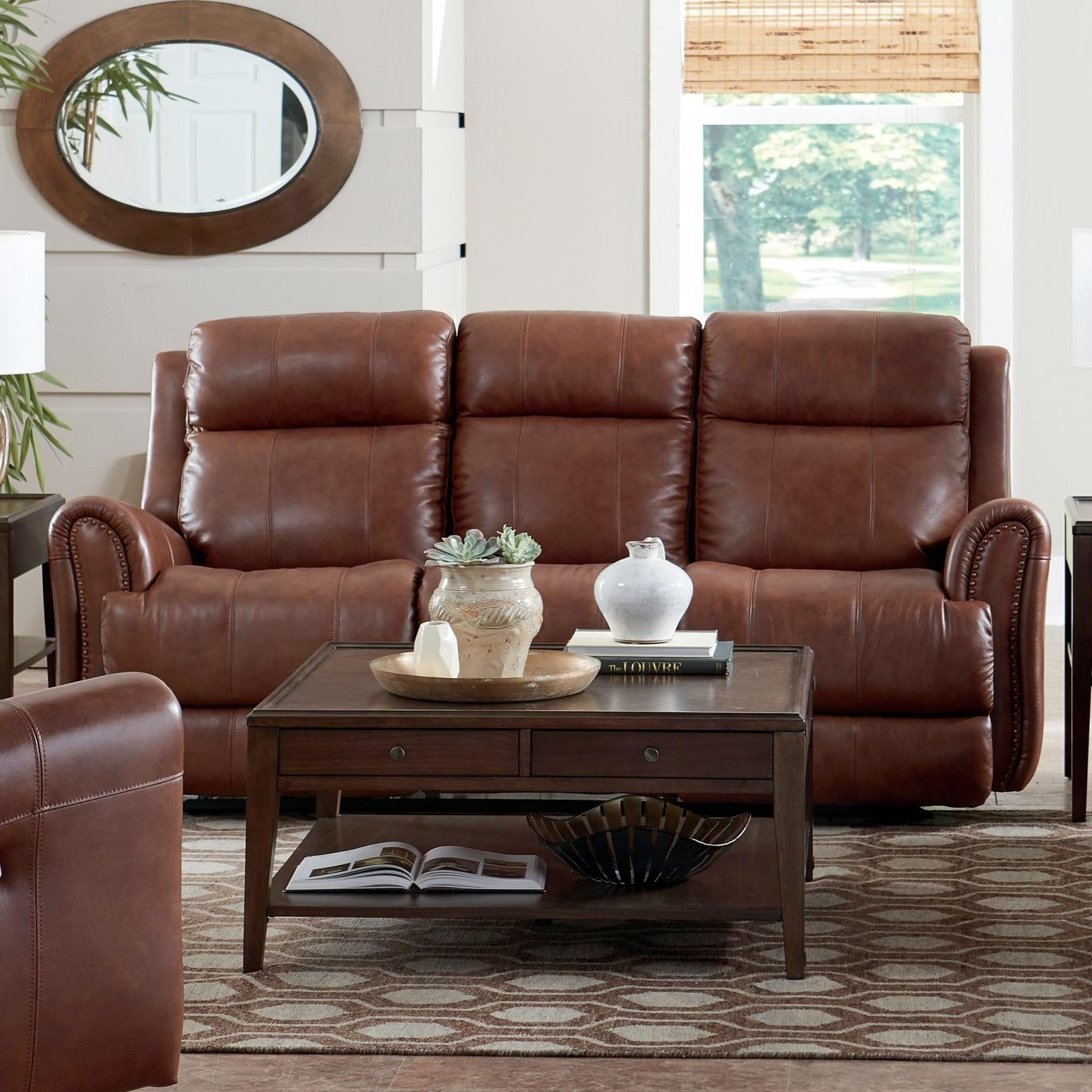 Picture of: Bassett Marquee Club Level 3707 P62u Leather Match Power Reclining Sofa With Extended Footrests Becker Furniture Reclining Sofas