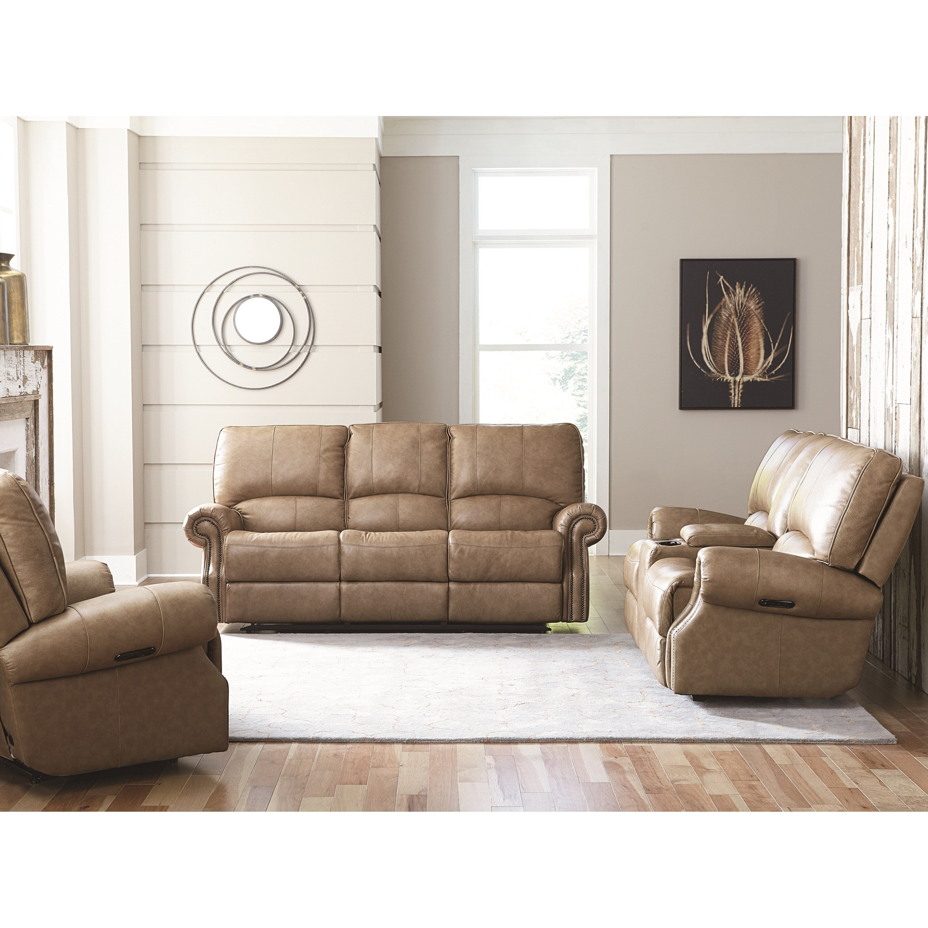 Bassett Furniture Sofas: Transitional Power Motion Sofa With USB Charging