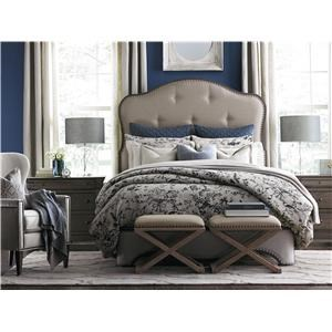 Bassett Provence Queen Cobblestone Upholstered Bed, Dresser,