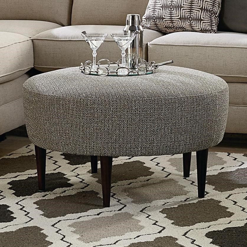 Bassett Rory Contemporary Round Ottoman With Tapered Legs Suburban Furniture Ottomans