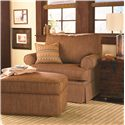 Bassett Custom Upholstery - Medium Scale <b>Custom</b> Chair and a Half and Ottoman - Item Number: 4000-18T+S2O