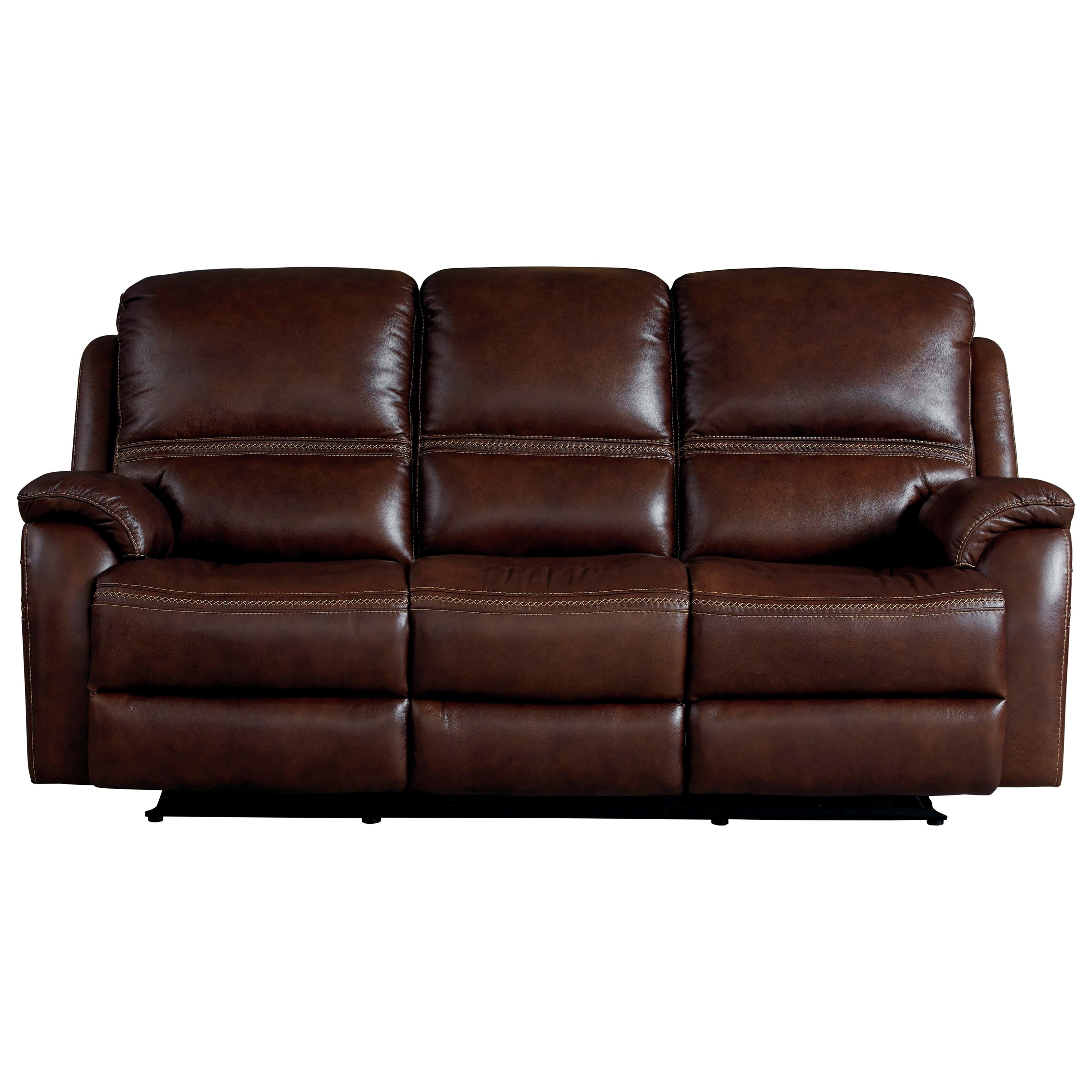 Williams - Club Level by Bassett Contemporary Leather Power Reclining Sofa  with Power Headrests by Bassett at Great American Home Store