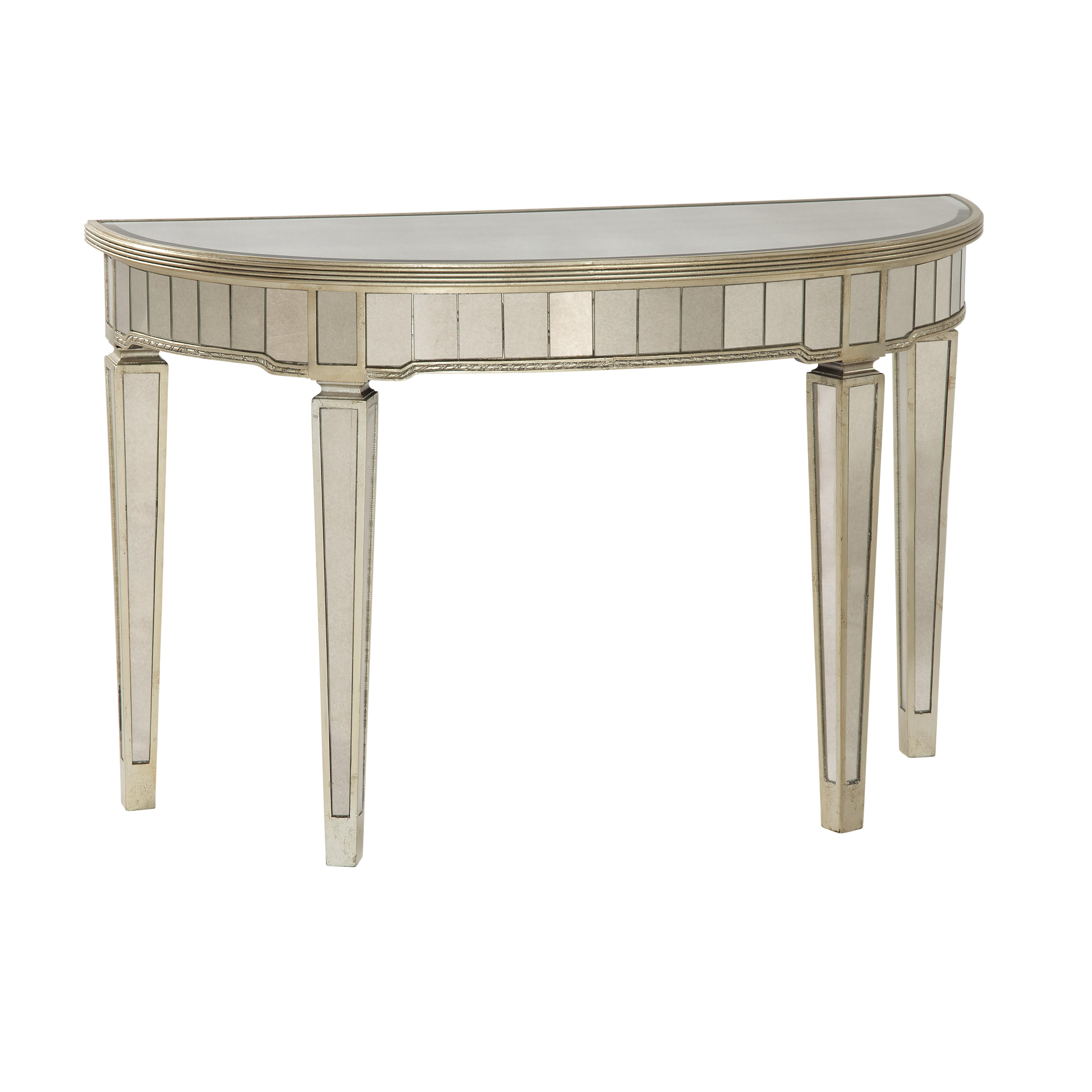 Hollywood Glam Borghese Demilune Console by Bassett Mirror at Jacksonville Furniture Mart