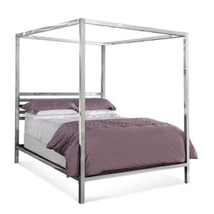Bassett Mirror Hollywood Glam Chrome Queen Poster Bed