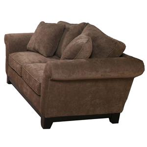 Bauhaus 33SMA Transitional Love Seat with Exposed Wood Base