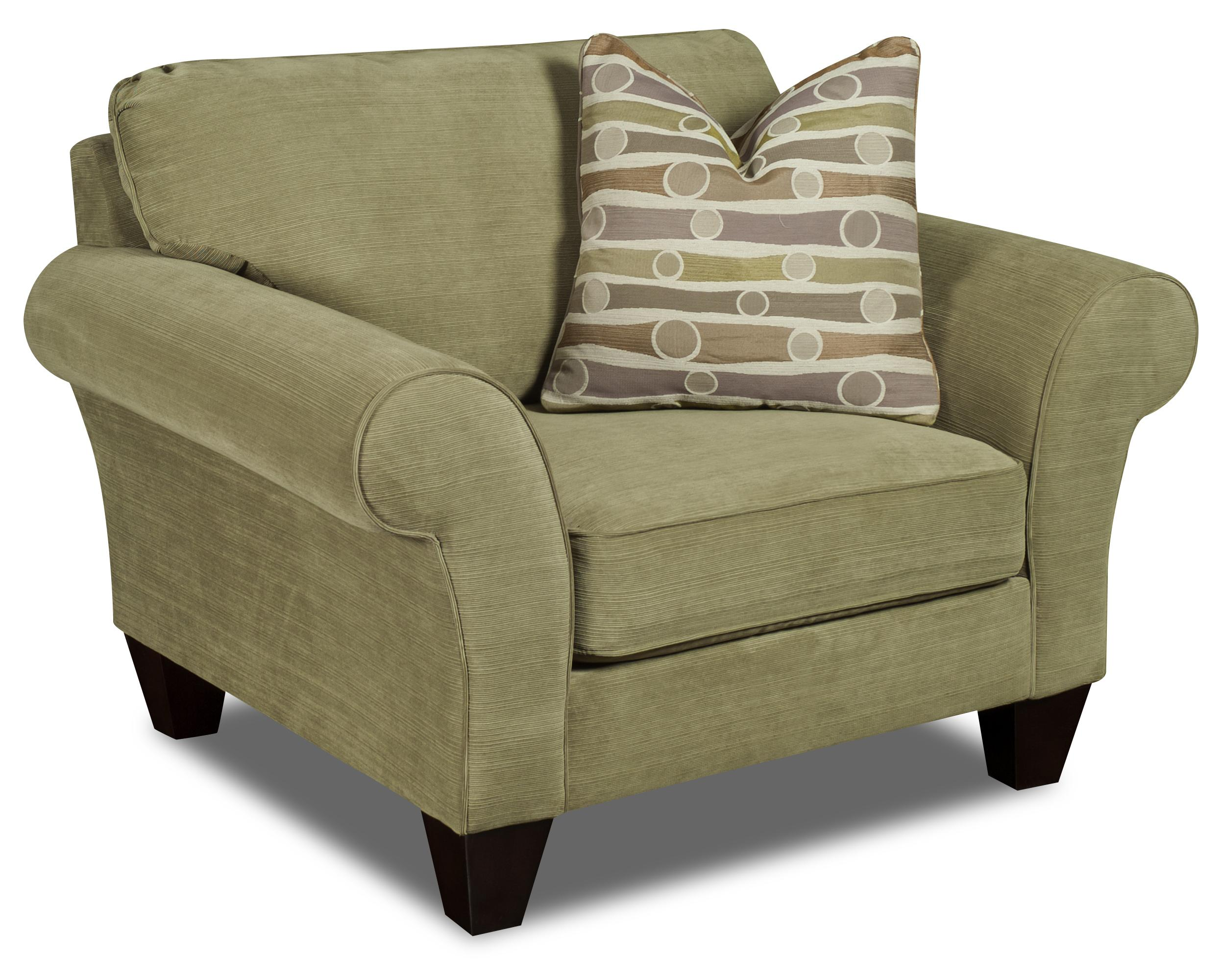Bauhaus D02 Casual Plush Rolled Arm Chair And 1 2 With
