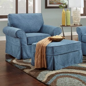 Chair & Ottoman with Slipcovers