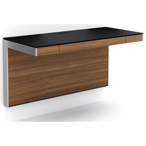 floating wall desk with black glass surface