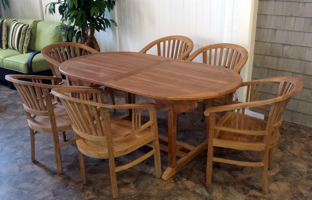 BeachCraft Bali 7PC Teak Patio Dining Set - Item Number: DT9870+6xGC9870
