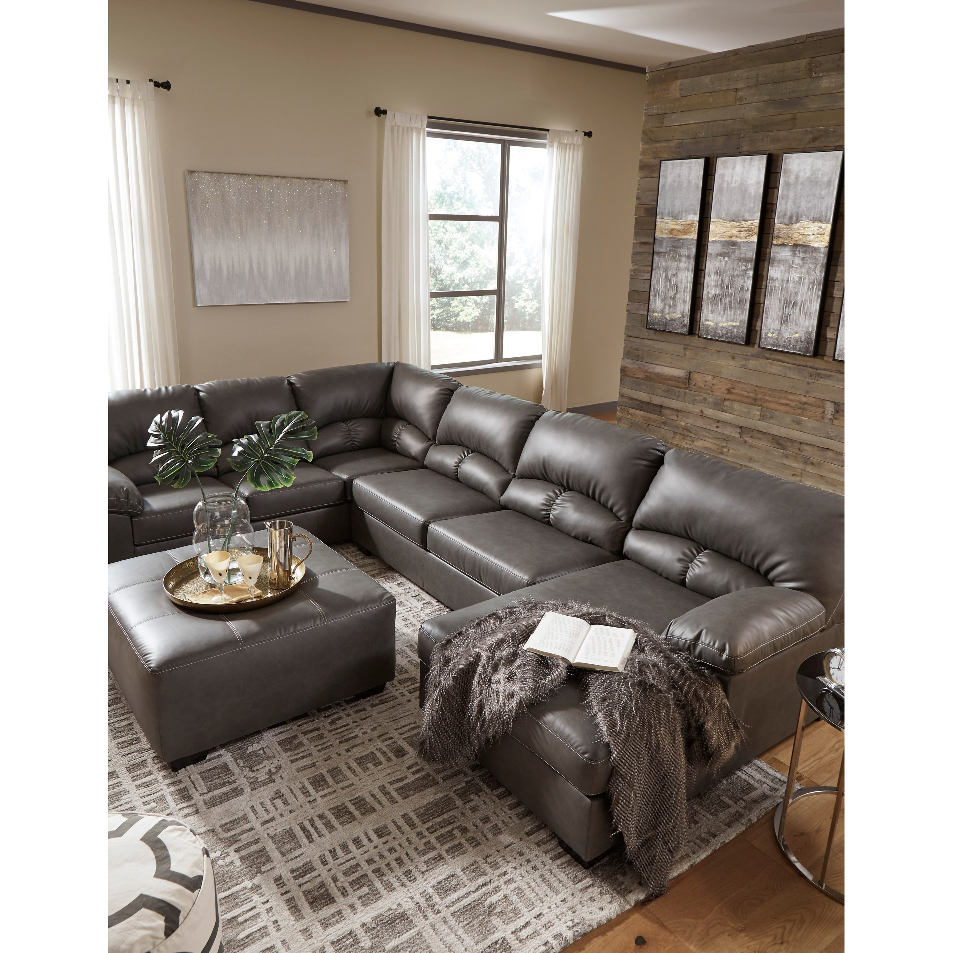 Benchcraft by Ashley Aberton Faux Leather 3-Piece ...