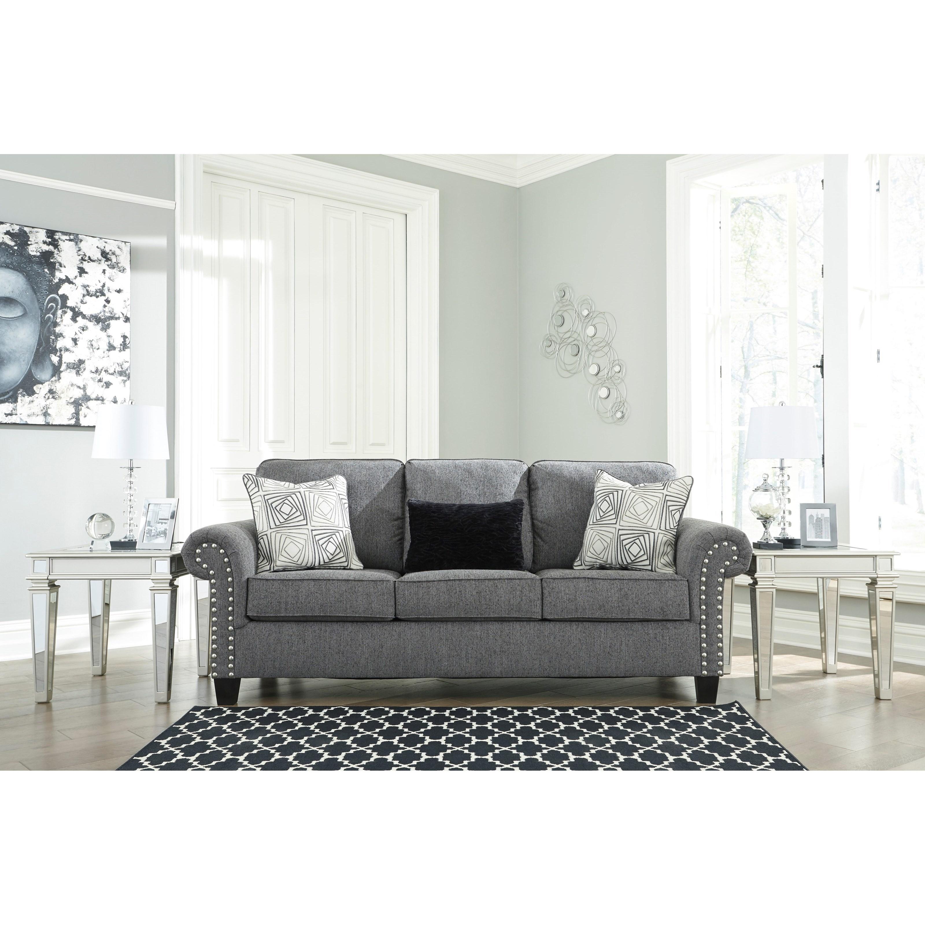 Benchcraft Agleno 7870138 Contemporary Sofa With Nailhead