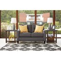 Benchcraft Aldie Nuvella Contemporary Loveseat in Performance Fabric