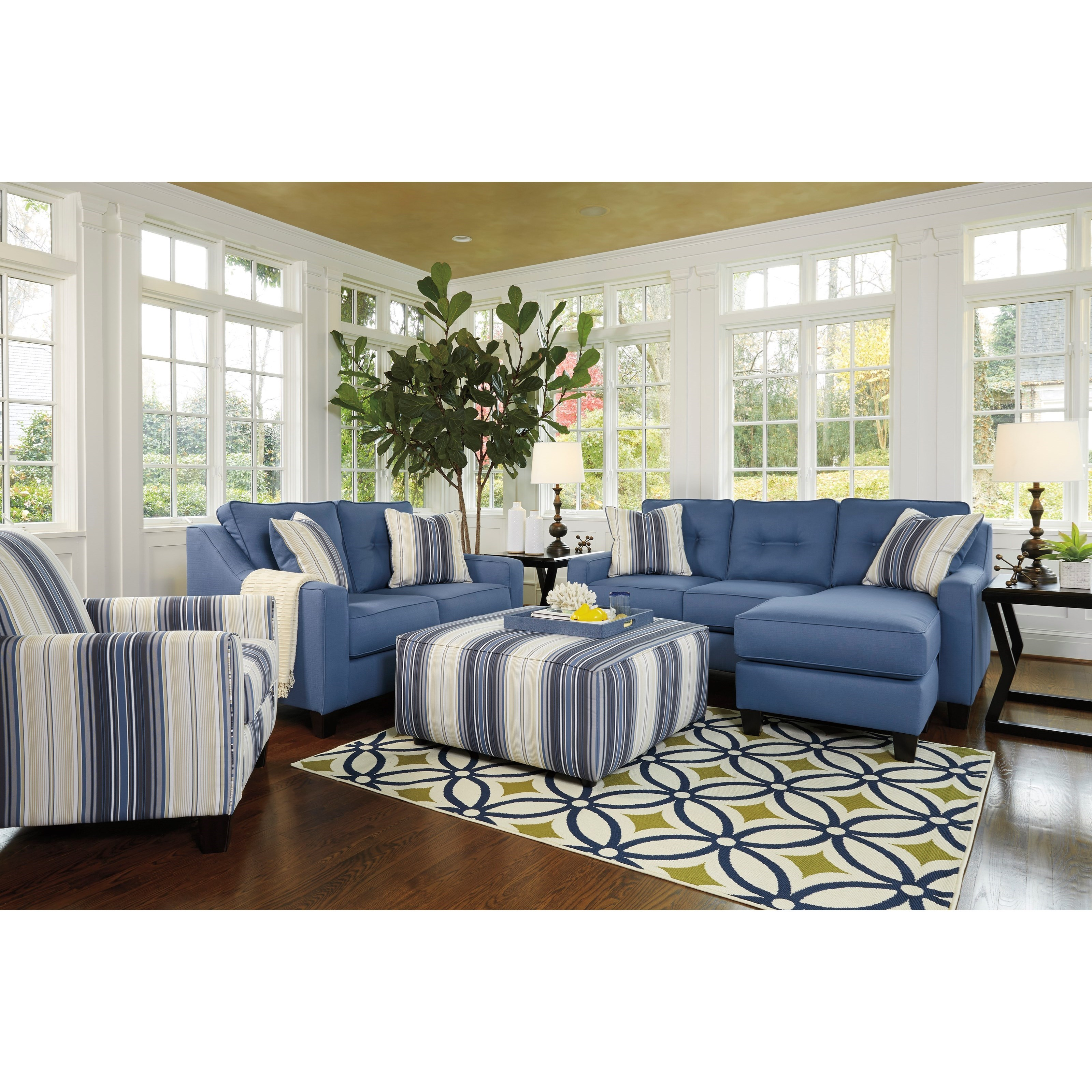 Benchcraft Aldie Nuvella Stationary Living Room Group - Item Number: 68703 Living Room Group 3