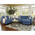 Benchcraft Aldie Nuvella Queen Sofa Chaise Sleeper in Performance Fabric