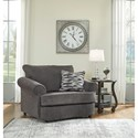 Benchcraft Allouette Chair and a Half & Oval Ottoman in Gray Fabric