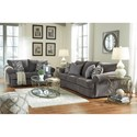 Benchcraft by Ashley Allouette Curved Front Loveseat in Gray Fabric