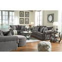 Benchcraft by Ashley Allouette Curved Front Sofa in Gray Fabric