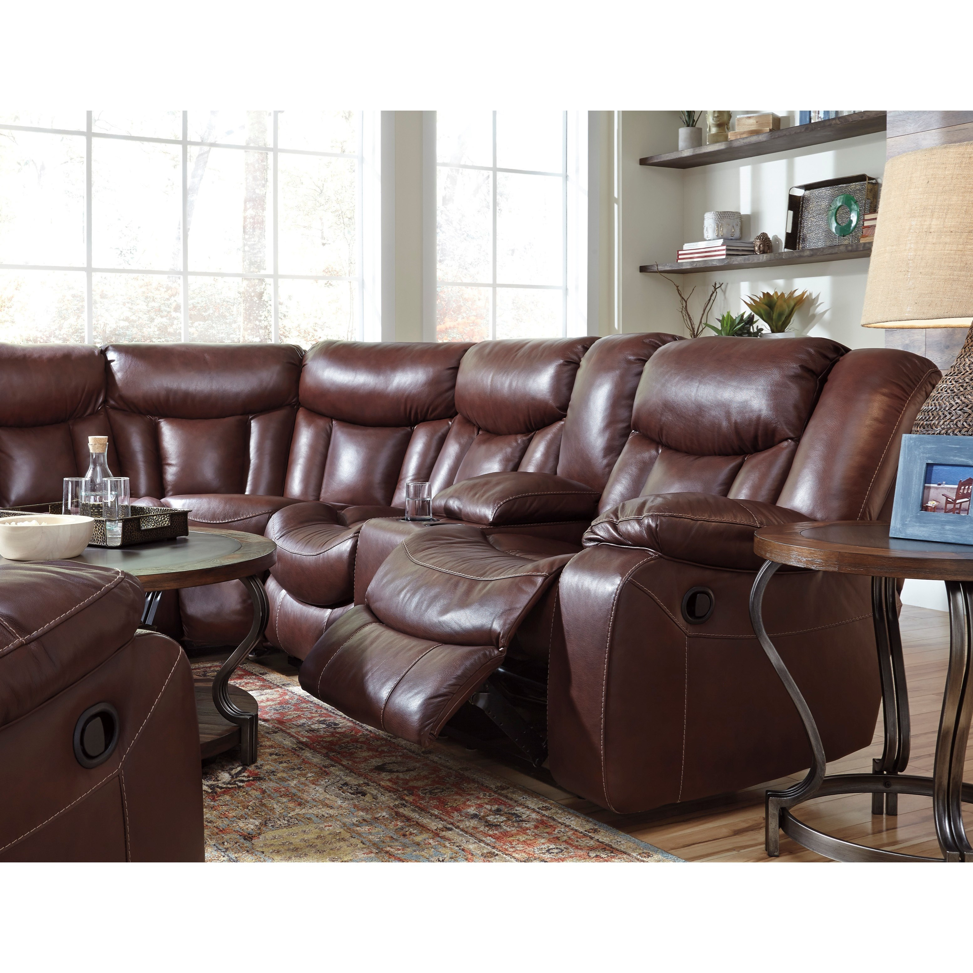 Benchcraft Amaroo Brown Leather Match 2 Piece Reclining