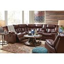 Benchcraft Amaroo Brown Leather Match 2-Piece Reclining Sectional