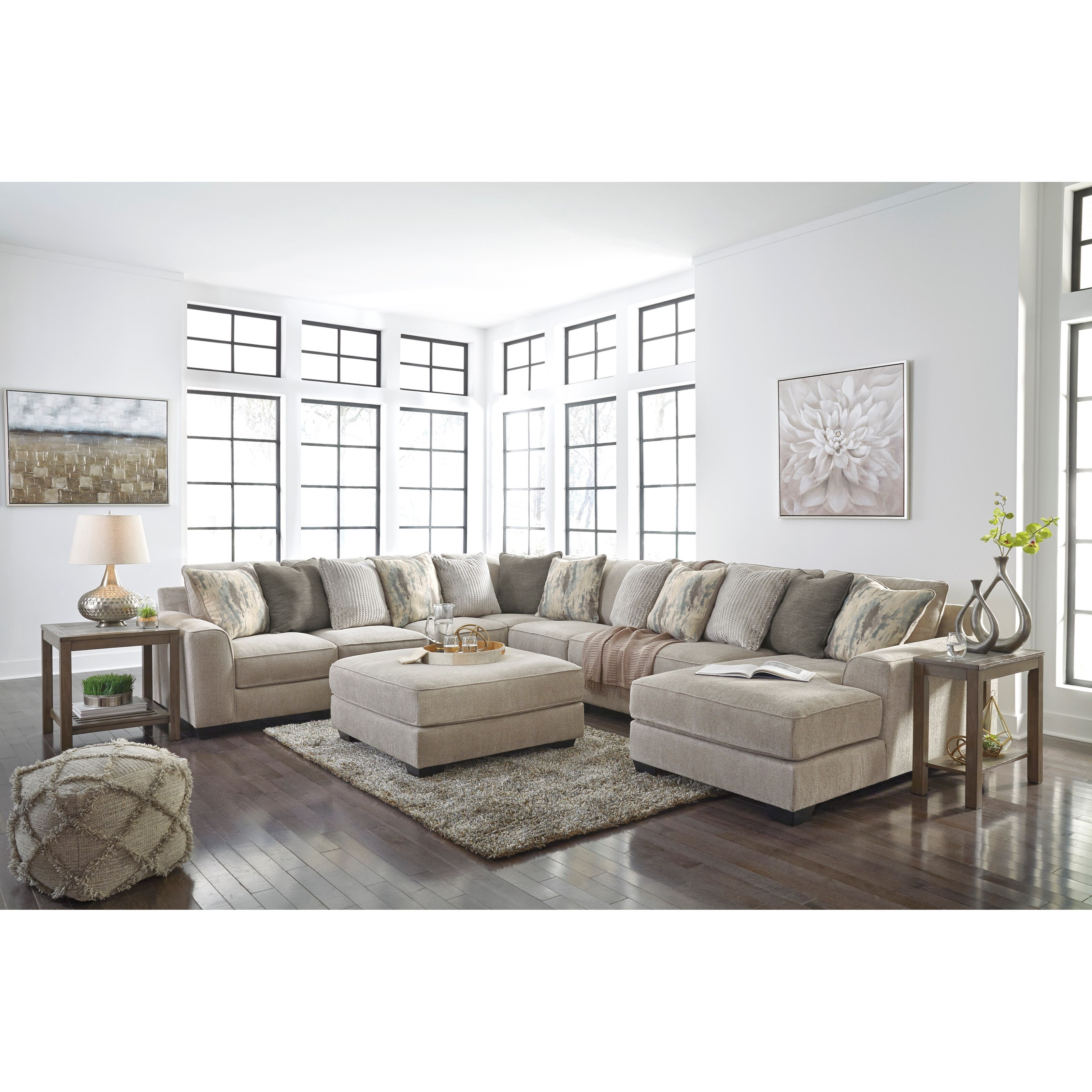 Benchcraft Ardsley Contemporary 5-Piece Sectional with ...
